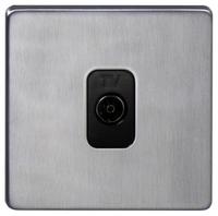 DETA Screwless TV co axial plate Satin Chrome Black Insert | LV0201.0159
