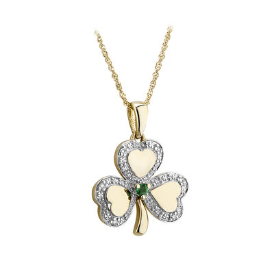 10k gold diamond and emerald shamrock pendant s46501 from Solvar