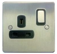 DETA Flat Plate 1gang socket Satin Chrome with Black Insert | LV0201.0168