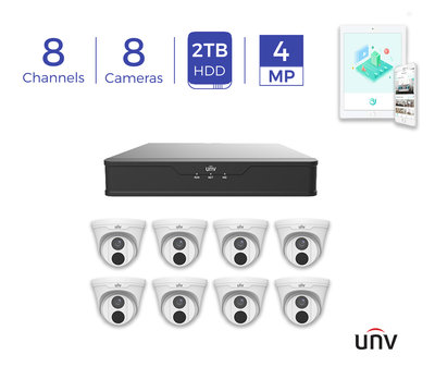 *2TB* UNV 8CH PoE 4K NVR and 8 x 4MP Eyeball Turret Cameras