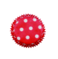 BC723 RED POLKA DOTS MINI BAKE CUPS100PK