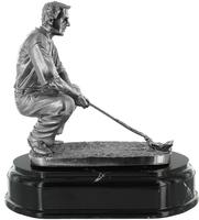 14cm Golfer Crouching (Silver Metal Finish)