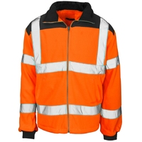 Supertouch Hi-Visibility Fleece Jacket - Rain Patch, Orange/Navy