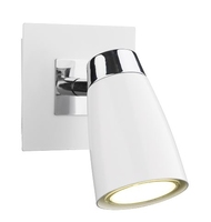 Loft 1 Light Low Energy Spot, Switched Polished Chrome and Matt White  | LV1802.0033