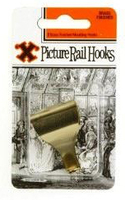 12850 6 CARDS BRASS.PICT.RAIL HOOKS