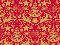 50CM x 100M REINDEER GOLD/RED XMAS