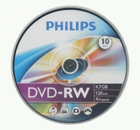 Philips DVD-RW 4 7GB 4x SP 10 Pack