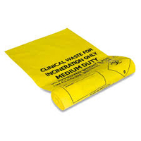 YELLOW CLINICAL WASTE BAGS (27CM x 46CM)