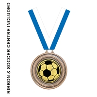 40mm Soccer Medal & BLUE Ribbon (Bronze)