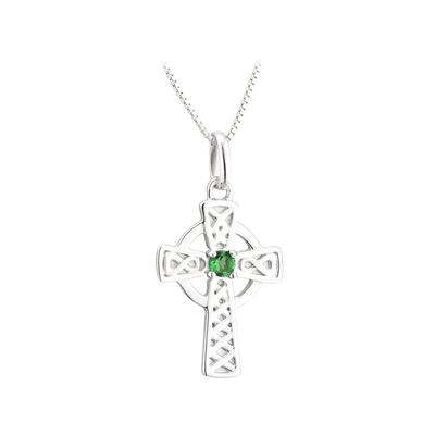 S/S GREEN CRYSTAL SMALL CROSS PENDANT(BOXED)