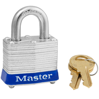 Master Lock Blue laminated steel safety padlock, 40mm wide with 19mm tall shackle, keyed alike