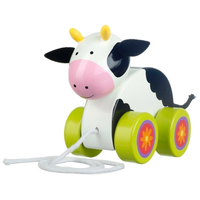 Wooden pull along cow for toddlers
