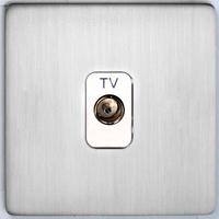 DETA Screwless TV co axial plate Satin Chrome White Insert | LV0201.0079