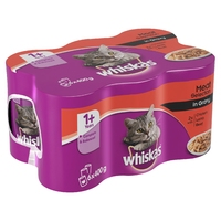 Whiskas 1+ Adult Cat Cans - Meat Selection in Gravy 6pk x 4
