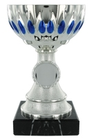 13cm Plastic Silver Cup with Blue