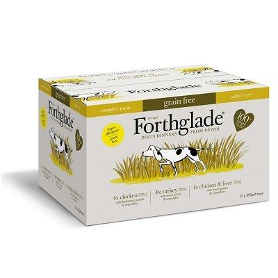 Forthglade Complete Grain Free Chicken, Turkey & Chicken with Liver Dog Food 12 x 395g