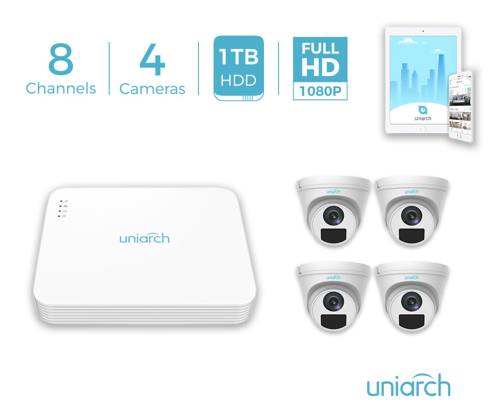 Uniarch 8CH 1TB PoE 5MP NVR Kit with 4x 1080P IP Domes