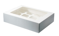 CUPCAKE MUFFIN BOX WHITE (Holds 12)