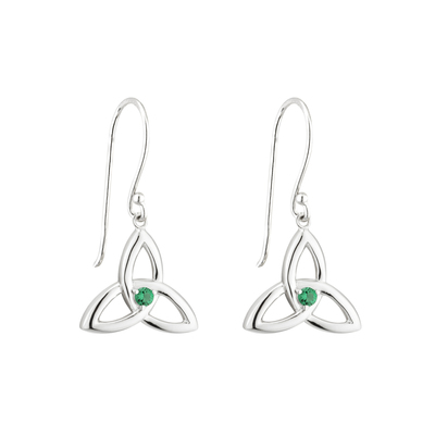 S/S GREEN CRYSTAL TRINITY KNOT DROP EARRINGS(BOXED)