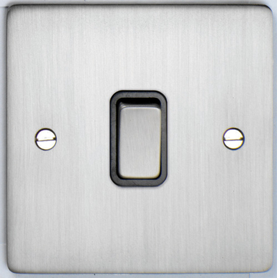 DETA Flat Plate 1gang switch Satin Chrome with Black Insert | LV0201.0160