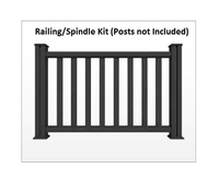 Composite Railing and Spindle Kit for Decking Graphite 1.48 Metre