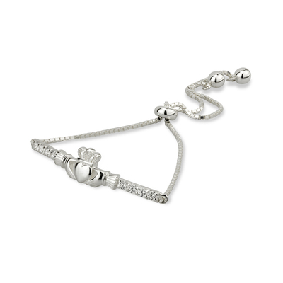 SILVER CUBIC ZIRCONIA CLADDAGH DRAW STRING BRACELET (BOXED)
