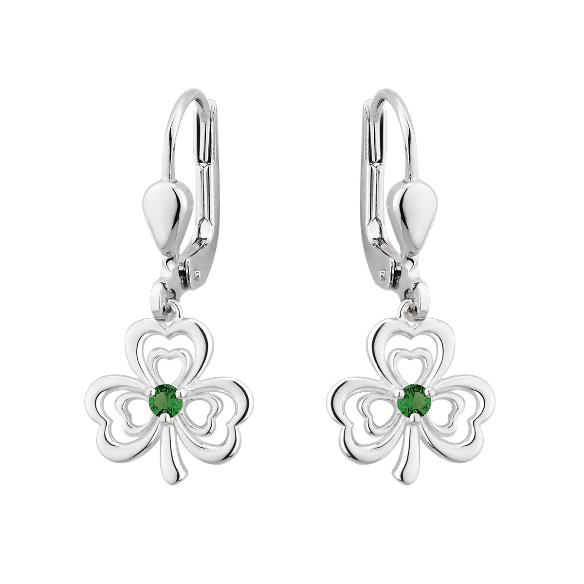 sterling silver green crystal shamrock drop earrings s33913 from Solvar