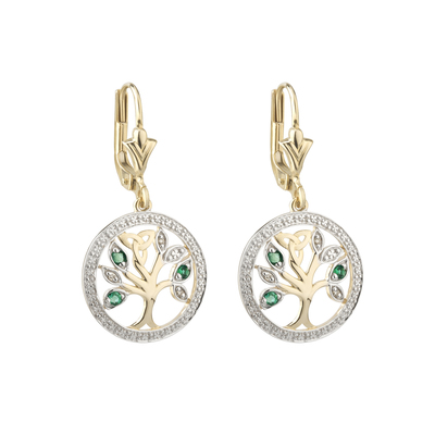 14K DIAMOND & EMERALD TREE OF LIFE EARRINGS(BOXED)