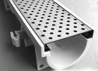 Drain Channel with Heel Guard Perforated Galvanised 1Mtr