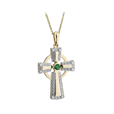 9K DIAMOND & EMERALD CROSS PENDANT