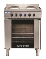 Blue Seal Turbofan Range, GN 1/1, electric convection oven and 4 element cooktop, electric, (4) GN tray capacity, (1) glass door, wire racks included, 675 mm w626 mm d, thermostatic controls, stainless steel exterior, legs with adjustable feet, (2) 2 kW f