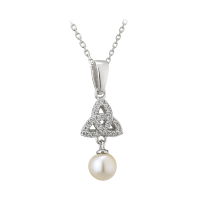 S/S CZ & FRESH WATER PEARL TRINITY PENDANT