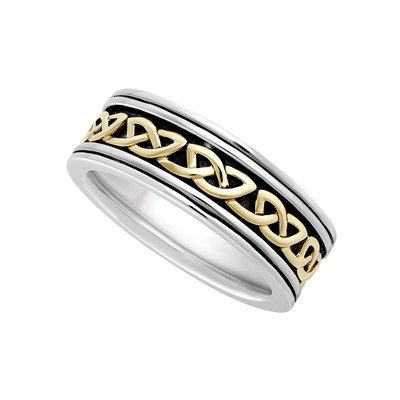 GENTS SILVER & 10K GOLD OXIDISED CELTIC KNOT RING (BOXED)