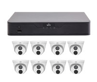 Uniview 8CH 1TB PoE 4K NVR and 8 x 4MP Eyeball Turret Cameras
