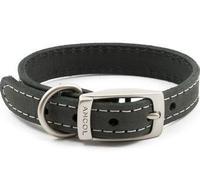 """Ancol Timberwolf Leather Collar Grey 16"""" x 1"""