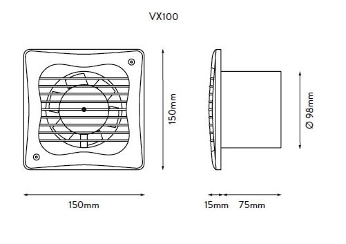 xpelair vx100t 4 u0026quot  100mm axial extract fan with timer