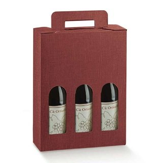 Burgundy Three Bottle Wine Box