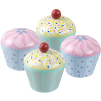 Set of four wooden cupcakes, two with cherries on top