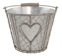 Iron Basket Round with Tin Pot 21cm