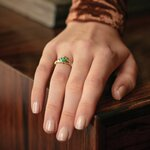 Solvar 14K Gold Claddagh and Emerald ring on model