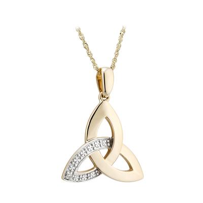 9K DIAMOND TRINITY KNOT PENDANT