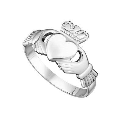 14K WHITE GOLD MAIDS CLADDAGH RING