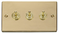 Click Deco Victorian Polised Brass 3Gang 2 Way Toggle Switch | LV0101.1826