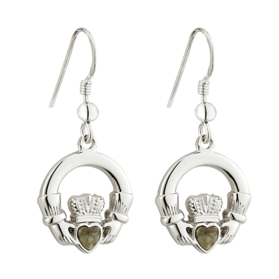 RHODIUM CONNEMARA MARBLE CLADDAGH EARRINGS