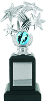 20cm Silver Star Trophy on Black Base (VP01B)