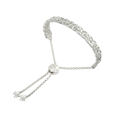 SILVER TRINITY KNOT DRAW STRING BANGLE (BOXED)