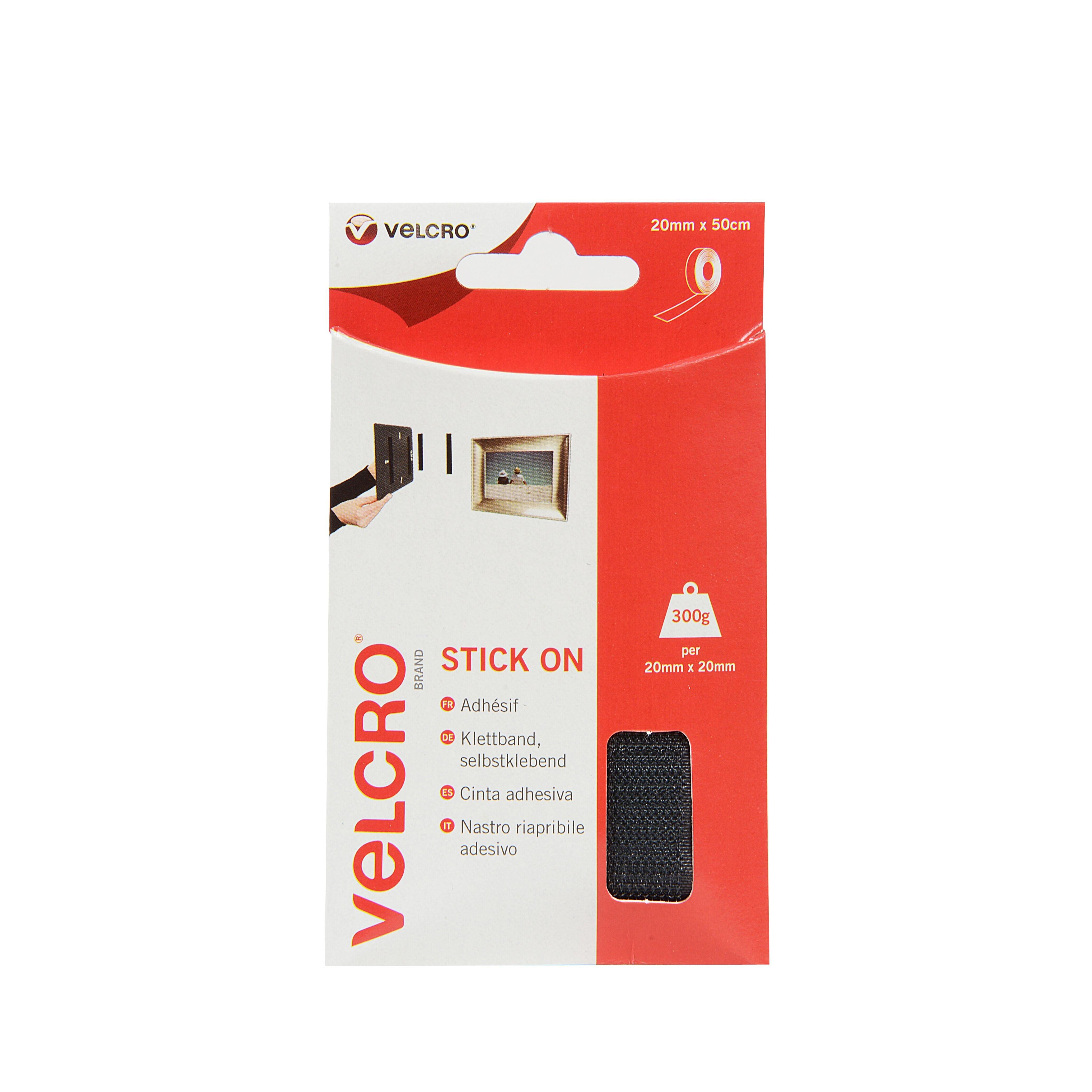 VELCRO TAPE BLACK 20 MM X 50 CM