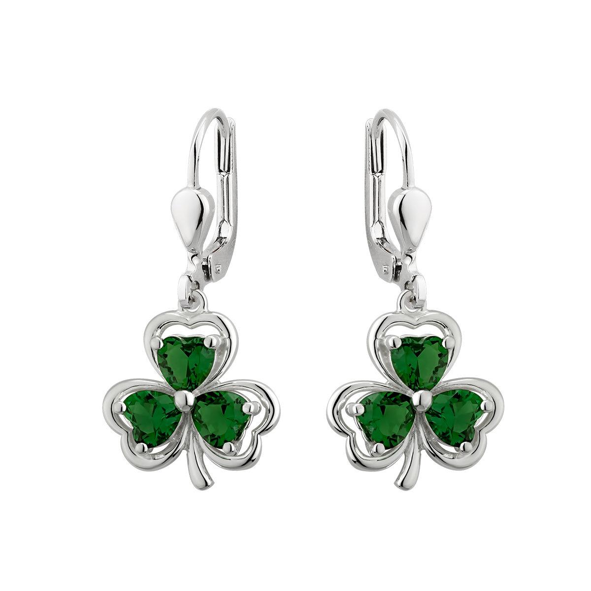sterling silver green crystal shamrock drop earrings s33914 from Solvar