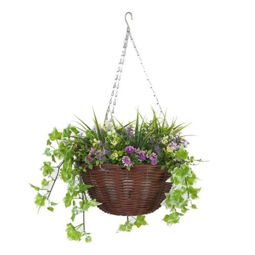 Faux Décor Lilac Hanging Easy Basket - 30cm