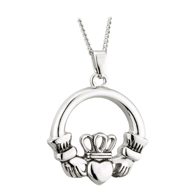RHODIUM OXIDISED CLADDAGH PENDANT